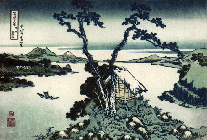 Hokusai: Der Suwa-See, Holzschnitt, 1830 (Wikipedia, gemeinfrei)