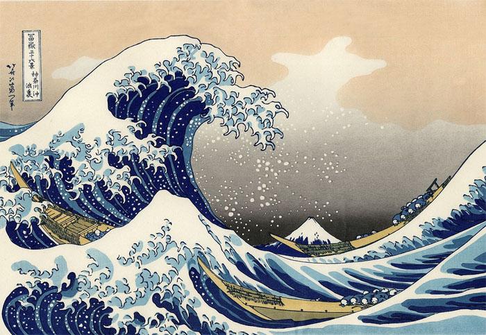 Katsushika Hokusai: Die große Welle von Kanagawa, Holzschnitt, 1830