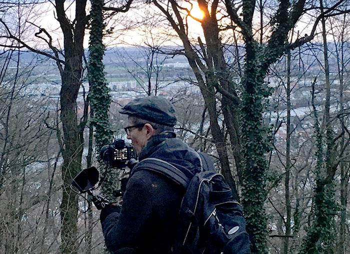 """Beim Dreh zur Episode """"Wald"""", oberhalb von Heidelberg. Foto: Christine Hausotter"""