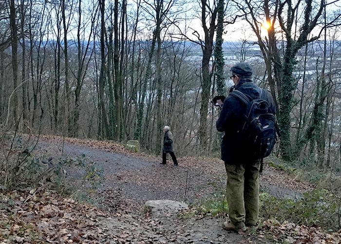 """Aufnahmen mit """"Clown 1"""" (Max Geiger) im Wald oberhalb von Heidelberg. Foto: Christine Hausotter"""